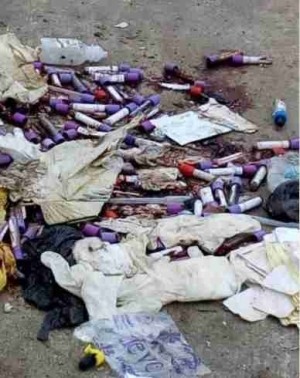 See The Way Gbagada General Hospital, Lagos, Liters The Road With Patients' Blood Samples